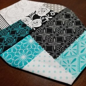 Homemade Teal Turquoise Black and White Facemask